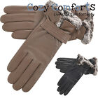 Womens / Ladies Genuine Soft Leather Gloves with Fleece Lining - Black, Taupe