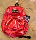 Jansport Red Metal Coated Denim Backpack Lifetime Guarantee !! NWT Awesome !