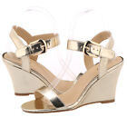 Ladies Patent Leather Sandals Buckle Strap Solid High Heels Comfort Wedge Sandal