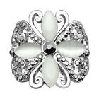 Personality Butterfly Rhinestone Opal Rings White Gold Plated Fashion Jewelry