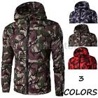 Fashion Men's WarmThick Coat Army Camo Camouflage Military Hooded Zip Up Jacket