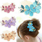 Hot Fashion Women Lady Girl Flower Alloy Rhinestone Barrette Hair Clip Comb JR