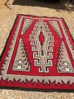 Incredible old and large Navajo Rug Carpet, intense red coloration,c1930,NR!