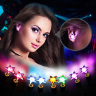 3 Pairs Bling Light Up LED Earrings Crystal Star Ear Studs Dance Party Halloween