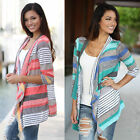 Striped Open Front Cable Knit Cardigan Sweater Multi-colored 3/4 Sleeve Women