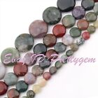 """8-25mm Natural Coin Indian Agate Gemstone For DIY Jewelry Making Loose Beads 15"""""""