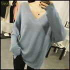 New Fashion Ladies Cotton Blend Long Sleevers V Neck Loose Fit knitwear Shirts