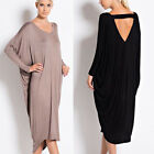 Sexy Women's V Neck Backless Long Batwing Sleeve Party Maxi Loose Dress AU