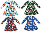 Girls Xmas Santa Rudolph Penguin Snowman Long Sleeve Swing Dress 2 to 13 Years