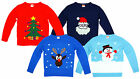 Boys Girls Xmas Tree Rudolph Santa Snowman Christmas Pom Pom Jumper 7-12 Years