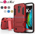 Hybird layer Armor Hard Rugged Slim Kickstand Protective Case Cover For LG K10