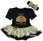 Baby Sparkle 1st Thanksgiving Turkey Black Gold Bodysuit Tutu Dress