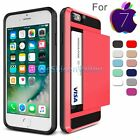 Hybrid Card Pocket Bumper Case Shockproof Cover Armor For iPhone 7 / 7 Plus New