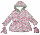 Girls Ditsy Floral Bows Padded Hooded Coat with Mittens 9 Months to 6 Years