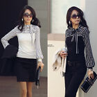 S-4XL Womens OL Long Sleeve Tops Pullover Cotton Bodycon T Shirt Casual Blouse