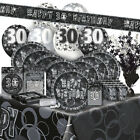 30/30th BIRTHDAY BLACK/SILVER GLITZ Party Range (Birthday/Plates/Napkins/Banner)