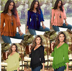 NEW Womens Blouse Lace Chiffon Long Sleeve Ladies Top T Shirt Loose Casual Tops