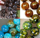 6/8/10mm Natural Dragon Veins Agate Round Gemstone Beads Loose Beads 15''AAA