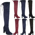 Ladies Faux Suede Over The Knee Boots Shoes Block High Heel Lace Thigh Stretch