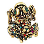 Vintage Look Antique Gold Plated Cute Crystal Frog Rings Fashion Jewelry