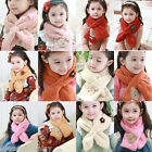 FL Korean Winter Children Scarves Kids Solid Colour Bear Flower Plush Wraps