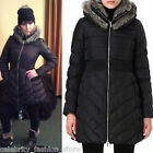 Karen Millen Black Faux Fur Collar & Leather Signature Padded Quilted Coat 12 40