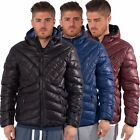 Kangol Mens Quilted Puffer Zip up Jacket Streetwear Hooded Winter Coat Size S-XL