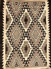 Beautiful TWO GREY HILLS style GENUINE HANDSPUN WOOL NAVAJO RUG,provenance,c1930