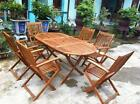 Oval Wooden Garden Table With 6 Seats. Solid Acacia Hardwood. Outdoor Furniture.