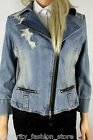 Karen Millen Casual Blue Denim Ripped & Frayed Biker Jean Jacket 12 40 New