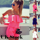 Sexy Womens Holiday Casual Playsuit Summer Off Soulder Beach Dress Mini Jumpsuit