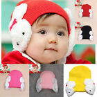 New Toddler Baby Boys Girls Warm Hats Infant Kids Soft Knit Caps With Rabbit Tab