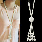 New Fashion Shiny Faux Pearl Chain Necklace Lady Charm Sweather Chain Jewelry
