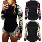 Fashion Womens Camouflage T-Shirts Ladies Long Sleeve Casual Blouse Tops Sz 6-14