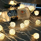 Battery Operated 20 LEDs Rattan Ball String Christmas Wedding Party Fairy Light