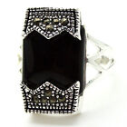 FASHION STERLING 925 SILVER RING BLACK AGATE RING SIZE 7/8/9/10