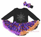Spider Web Halloween Black Cotton L/S Bodysuit Girls Pumpkin Baby Dress NB-18M