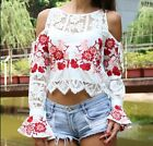 New women girls embroidery Lace floral print red off shoulder summer T-shirt top