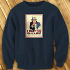 UNCLE SAM ARMY WANT YOU  RECRUIT AMERICAN SOLDIER Mens Navy Sweatshirt