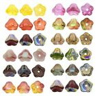 25 High Quality Bell Flower Czech Glass Beads 8MM Luster Vitral and Solid Colors