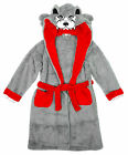 Boys WOLF Face Hooded Snuggle Dressing Gown with Tail Bathrobe 7 to 13 Years
