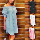Plus Size Women Off Shoulder Short Mini Dress Short Sleeve Tops Blouse T-shirt