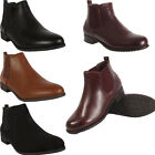 New Ladies Womens Faux Leather Winter Flat Heel Chelsea Ankle boots Shoes Sizes