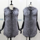 Real Silver Fox Fur Vest Waistcoat Gilet Jacket Coat Chic Gift Cape Lady Gift