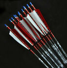 "12pc Archery 31"" 7.5mm Shaft SP500 Turkey Feathers Carbon Arrow Replaceable Tip"