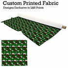 GREEN CHRISTMAS PUDDING DESIGN FABRIC LYCRA SPANDEX POLYESTER ALOBA CHIFFON