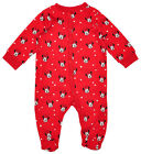 Girls Minnie Mouse Hearts Print Red Sleepsuit with Feet Tiny Baby - 24 Months
