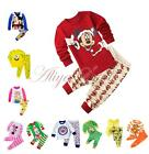 Cartoon Baby Kids Boys Girls Cotton Nightwear Sleepwear Pj's Pajamas Set SZ 2-7Y