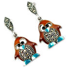 MULTI COLOR ENAMEL MARCASITE 925 STERLING SILVER PENGUIN EARRINGS JEWELRY H48340