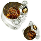 NATURAL BROWN AMMONITE FOSSIL SMOKY TOPAZ PEARL 925 SILVER RING SIZE 8 H92883